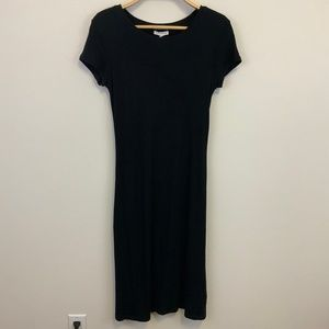 Club Monaco Black Ribbed Midi Dress Cap Sleeve M